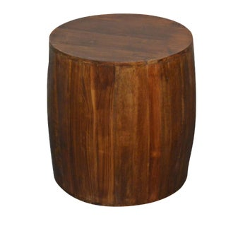Reclaimed Wood Drum Side Table