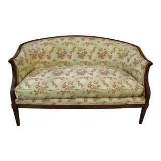 Floral Upholstered Curved Back Settee
