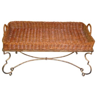 EJ Victor Rattan Tray Cocktail Table