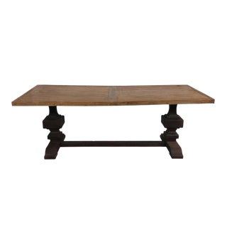 Reclaimed Wood Dining Table with Metal Like Trestle