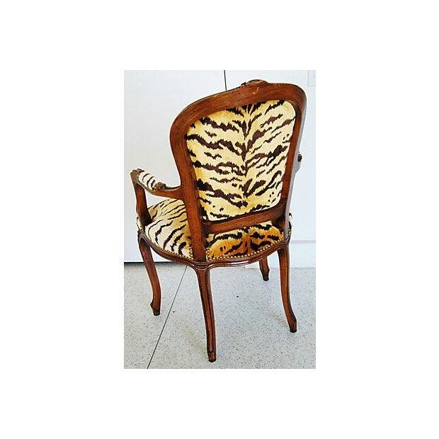 1940s Italian Scalamandre Le Tigre Velvet Armchair - Image 8 of 8