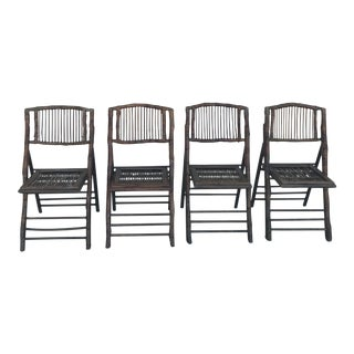 Vintage Bamboo Folding Chairs - Set of 4