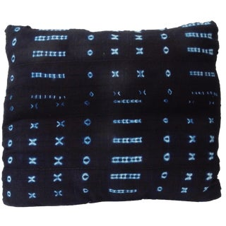African Mud Cloth Indigo Square Pillow