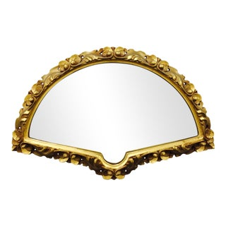 Antique Fan-Shaped Gilded Gold Framed Mirror