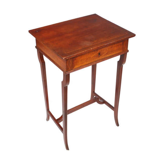 19th c regency style sewing cabinet table chairish for Table th width