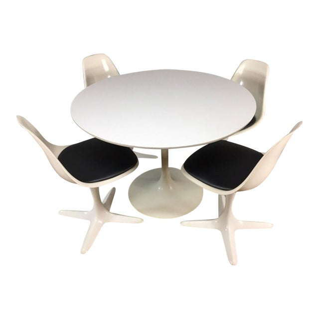 Set of 4 Saarinen Style Tulip Table and Propeller Base Chairs by Burke - Image 1 of 11