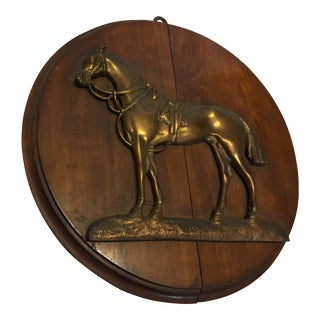 Equestrian Cast Horse on Wood Plaque