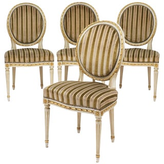 Louis XVI Style Striped Velvet Gold Leaf Dining Chairs- Set of 4