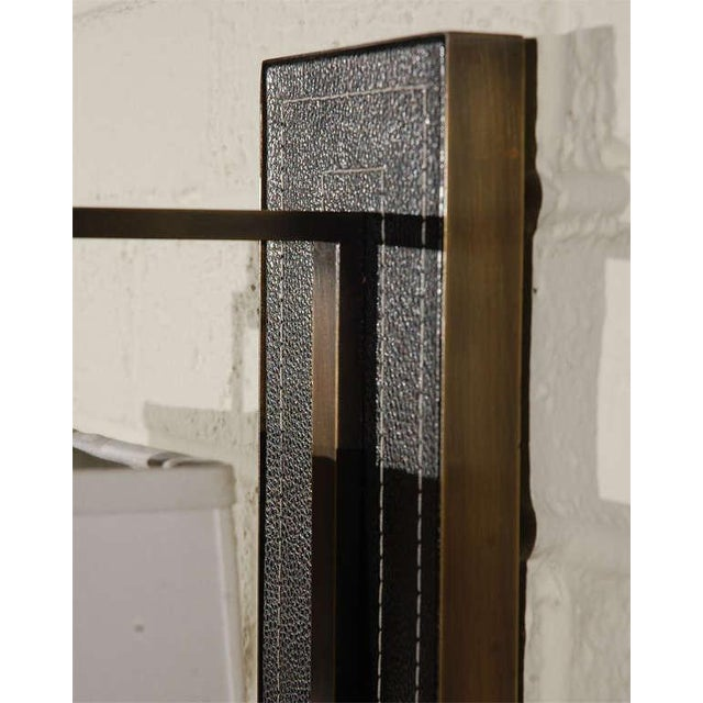 Paul Marra Black Leather Back Sconce with Tapered Linen Shade - Image 4 of 6