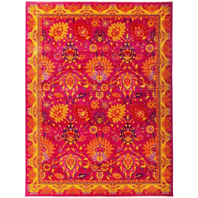 Eclectic, Hand Knotted Modern Pink & Yellow Wool Area Rug