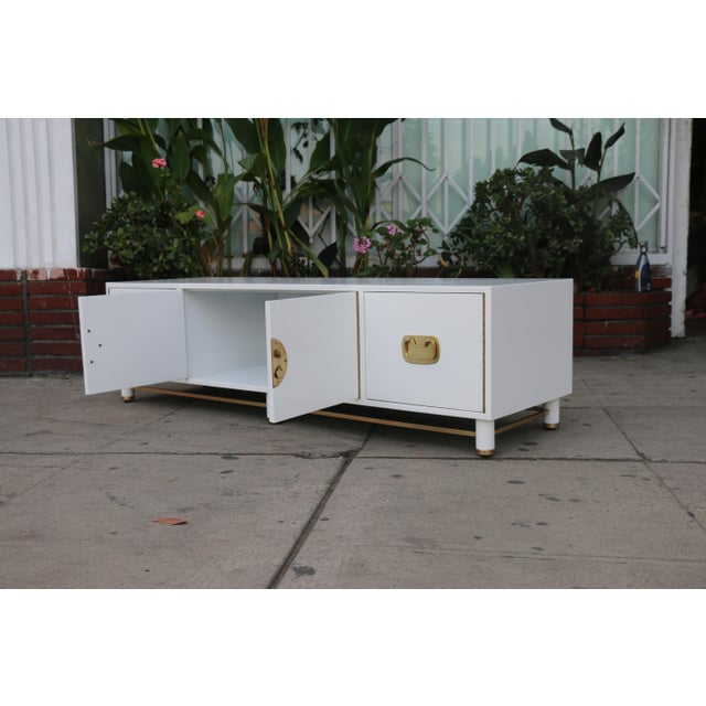 White Mid Century Oriental Low Credenza - Image 5 of 10