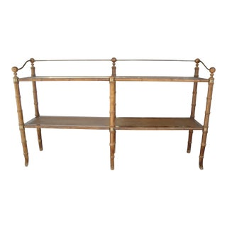 Faux Bamboo/Cane & Glass Console