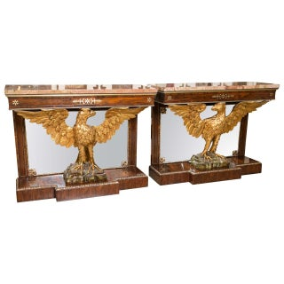 Gilt Opposing Eagle Console Tables - Pair