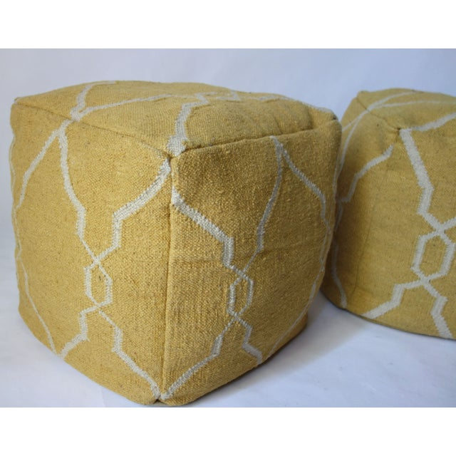Yellow Dhurrie Poufs -Pair - Image 4 of 5