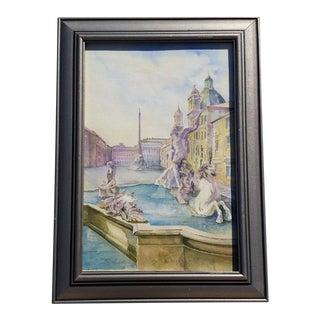 Watercolor Painting of Italian Fountain