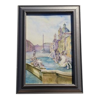 Watercolor Painting of Italian Fountain