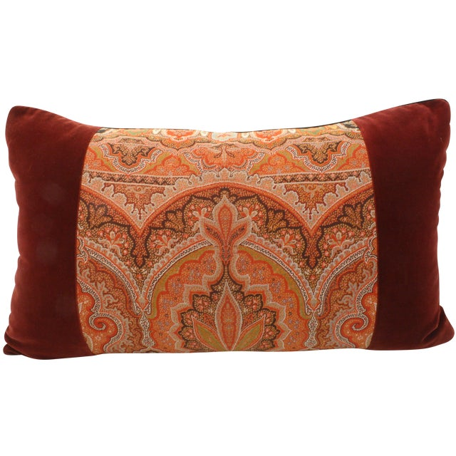 Paisley & Velvet Bolster Pillow - Image 1 of 2