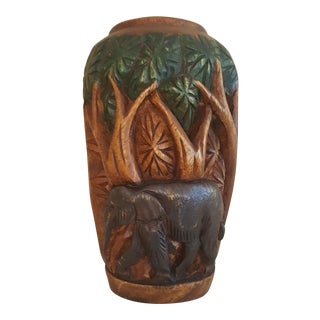3D Hand Carved Elephant Vase