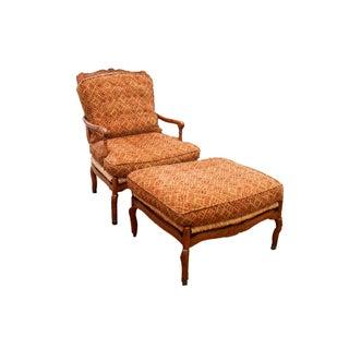 Fremarc Ladderback Rush Seat Bergere Chair Ottoman