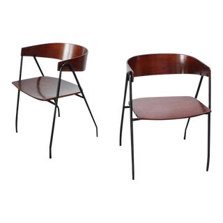 Pair of French Bentwood and Steel 'Compass' Chairs after Pierre Guariche