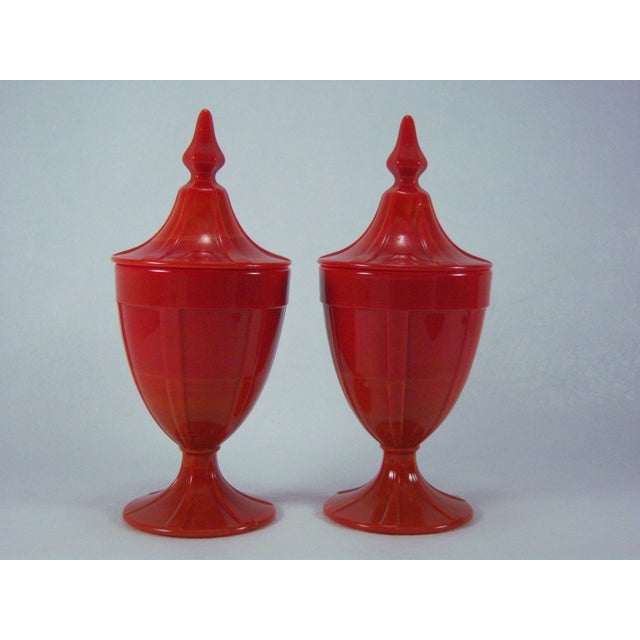 1920s Red Art Glass Covered Candy Containers - Image 3 of 8
