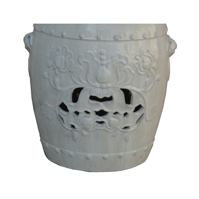 Chinese Clay White Lotus Garden Stool/Ottoman - Image 7 of 7