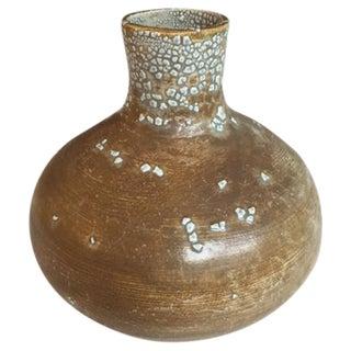 BoHo/Mid Century Modern White Speckled Ceramic Vase