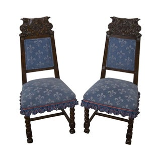 Antique Carved Eagle Barley Twist Side Chairs - A Pair