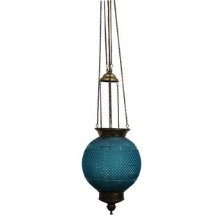 Baccarat Signed French Art Deco 1920's Hanging Electrified Oil Lantern - Hobnail