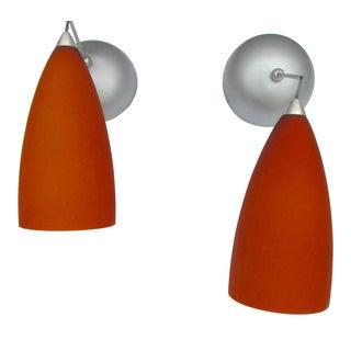 Orange Glass Pendant Lights - A Pair