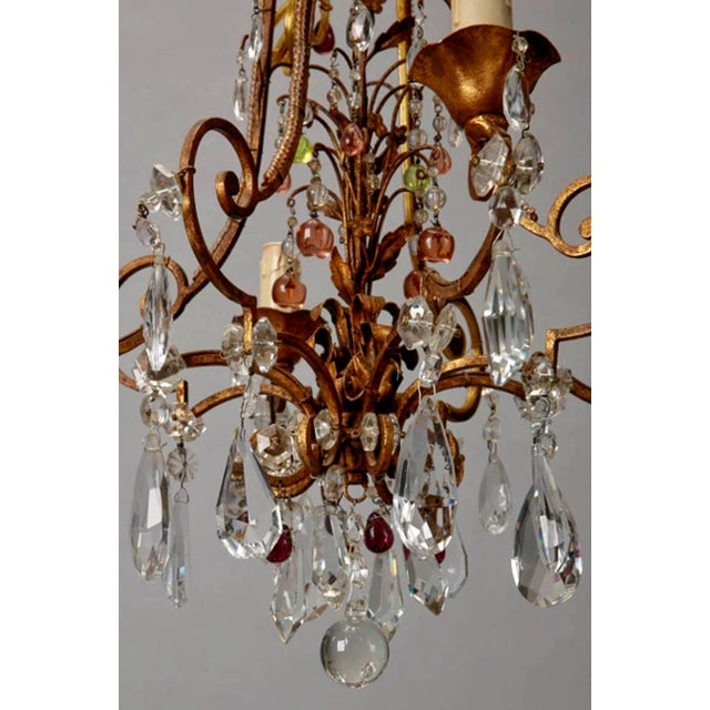 1920's Italian Four Light Crystal Chandelier With Colored Drops - Image 6 of 7