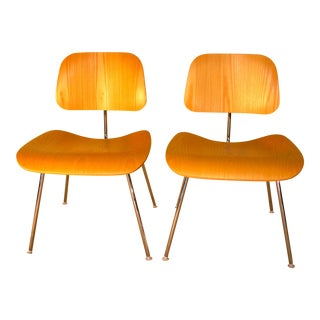 Eames Molded Plywood Dining Chairs With Metal Base - a Pair