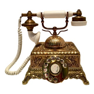 Vintage French Style Brass Telephone