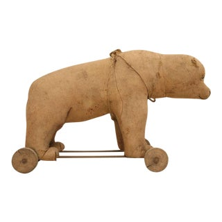 Circa 1910 Toy Polar Bear on Wheels