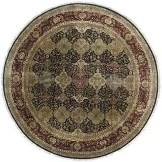 Vintage Hand Knotted Wool Round Indian Rug - 9′ × 9′