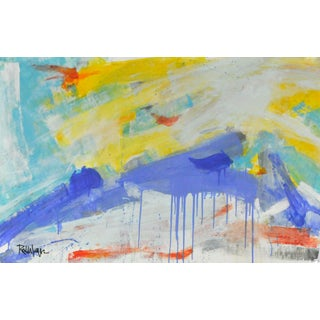 Cobalt Drips With Pastels Acrylic Abstract Painting