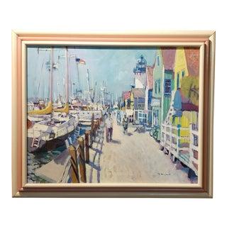 "Ramon Moscardo Fernandez ""Marina Del Rey, Santa Monica, CA"" Oil Painting"