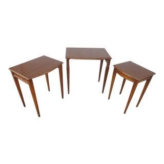 Vintage English Tudor Walnut Nesting Tables - Set of 3