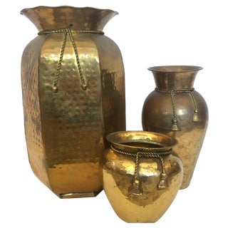 Brass Vases with Cord and Tassel - 3