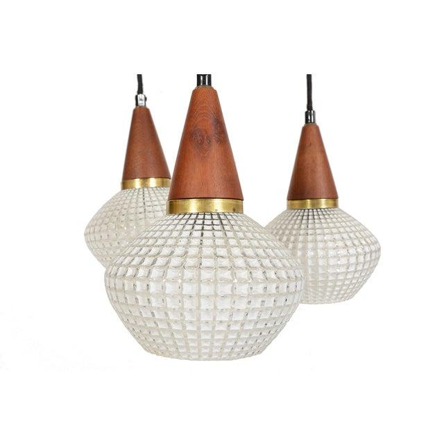 Image of Danish Modern Teak & Glass Tri-Pendant