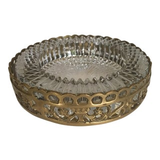 Hollywood Regency Brass and Crystal Trinket Dish