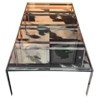 70s Glass Topped Chrome Tables - A Pair
