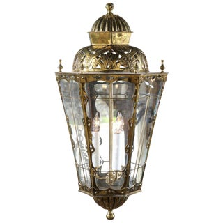 English Brass Three-Light Lantern with Glass Panels and Pierced Top, circa 1890