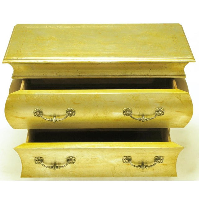 Pair Henredon Gold Toned Silver Leaf Bombe Two-Drawer Commodes - Image 4 of 10