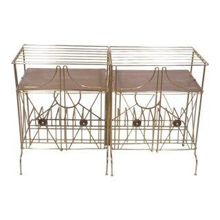 Mid-Century Modern Brass Record Racks - A Pair
