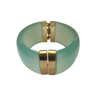 Aqua Lucite and Gold Clamp Hinge Bracelet
