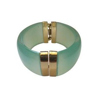 Aqua Lucite and Gold Clamp Hinge Bracelet