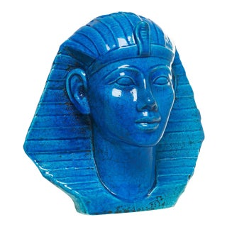 Persian Blue Glaze King Tutankhamun Ceramic Bust by Ugo Zaccagnini