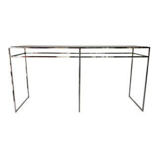 Milo Baughman Chrome and Smoked Glass Console