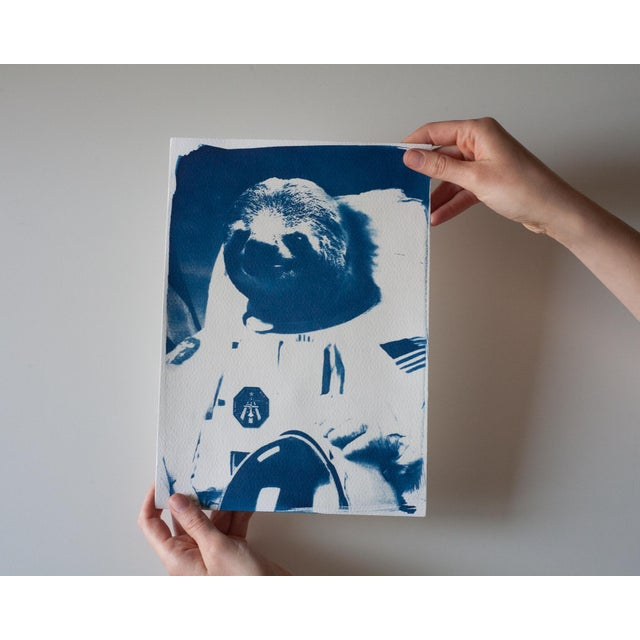 Limited Edition Cyanotype Print- Astronaut Sloth Meme - Image 4 of 4